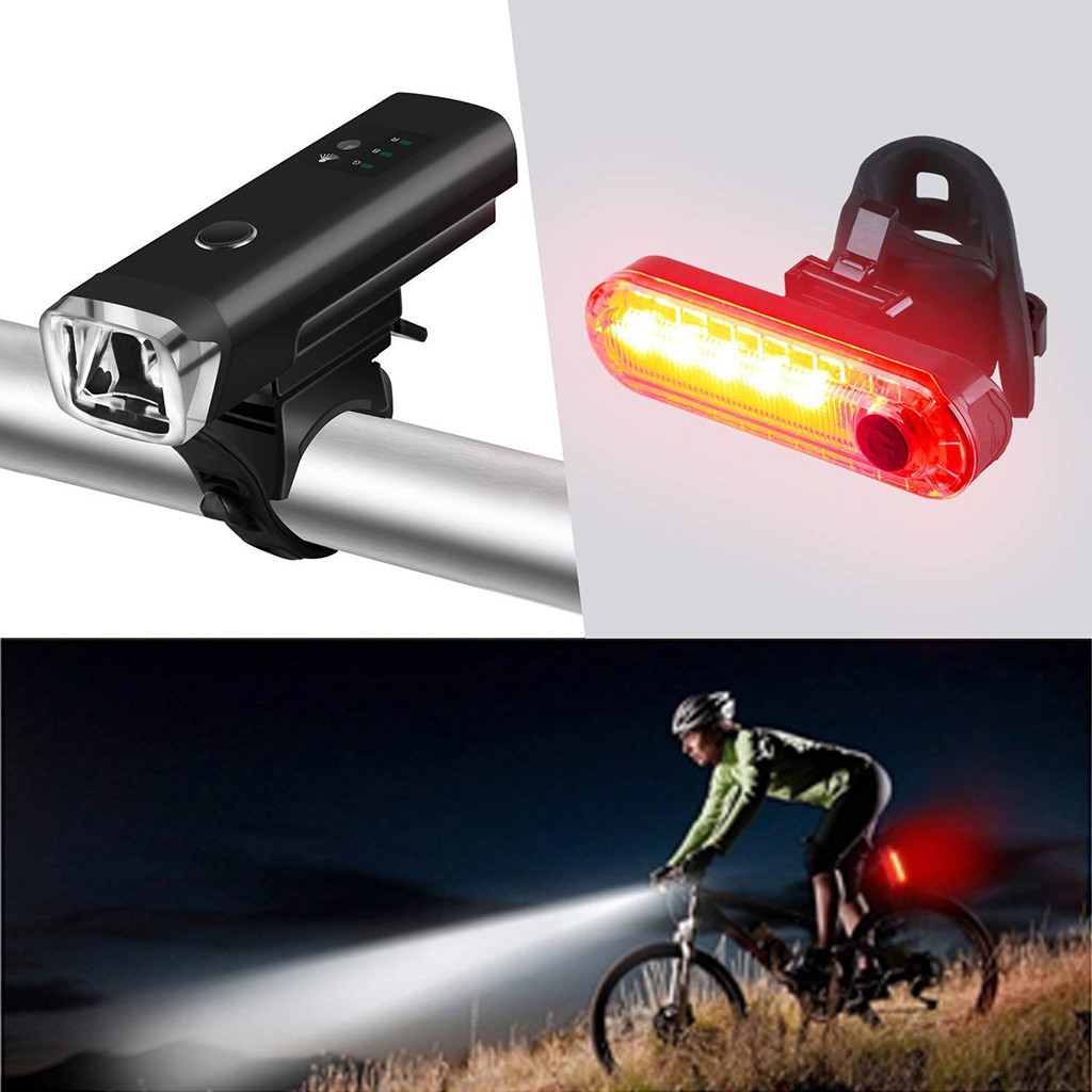 USB Rechargeable LED Bicycle Bike Front Rear Light Set Headlight Taillight Lamps
