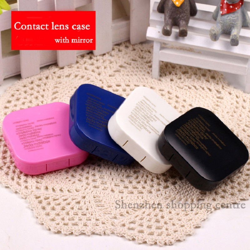 Hot Square Letter  Contact Lenses Box With Mirror Contact Lens Case For Women Color Travel Eyeglass Case Eyewear Accessories