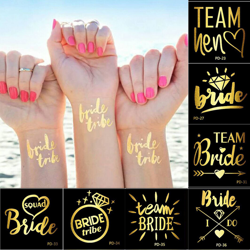 1pc Gold Flash Team Bride Flamingo/Pineapple Temporary Tattoo Wedding Party Decor Hen Party Supplies Photo Props 40designs New
