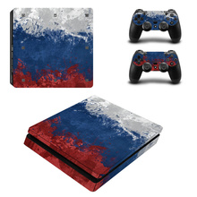 Blue Oil Painting Skin Sticker Cover Protector Vinyl Sticker For PS4 Slim Console Kinect and 2 Controller Skin