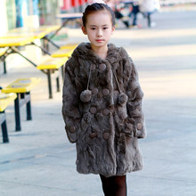 HOT SALE 2016 New Fashion Rabbit Fur Coat for Children  Autumn and Winter Warm Thick Long Section Outwear Jacket Doubl Breasted