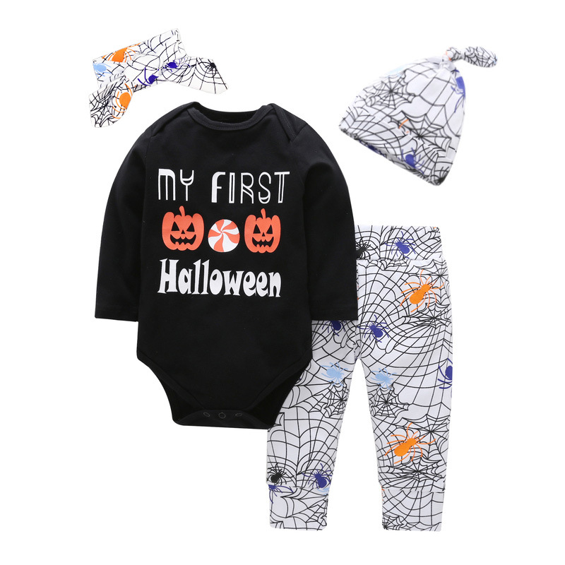 Newborn Baby Girls Clothes Halloween Costume Baby Bodysuit+Pants+Hat 3pcs sets 2018 Halloween Baby girl Clothing