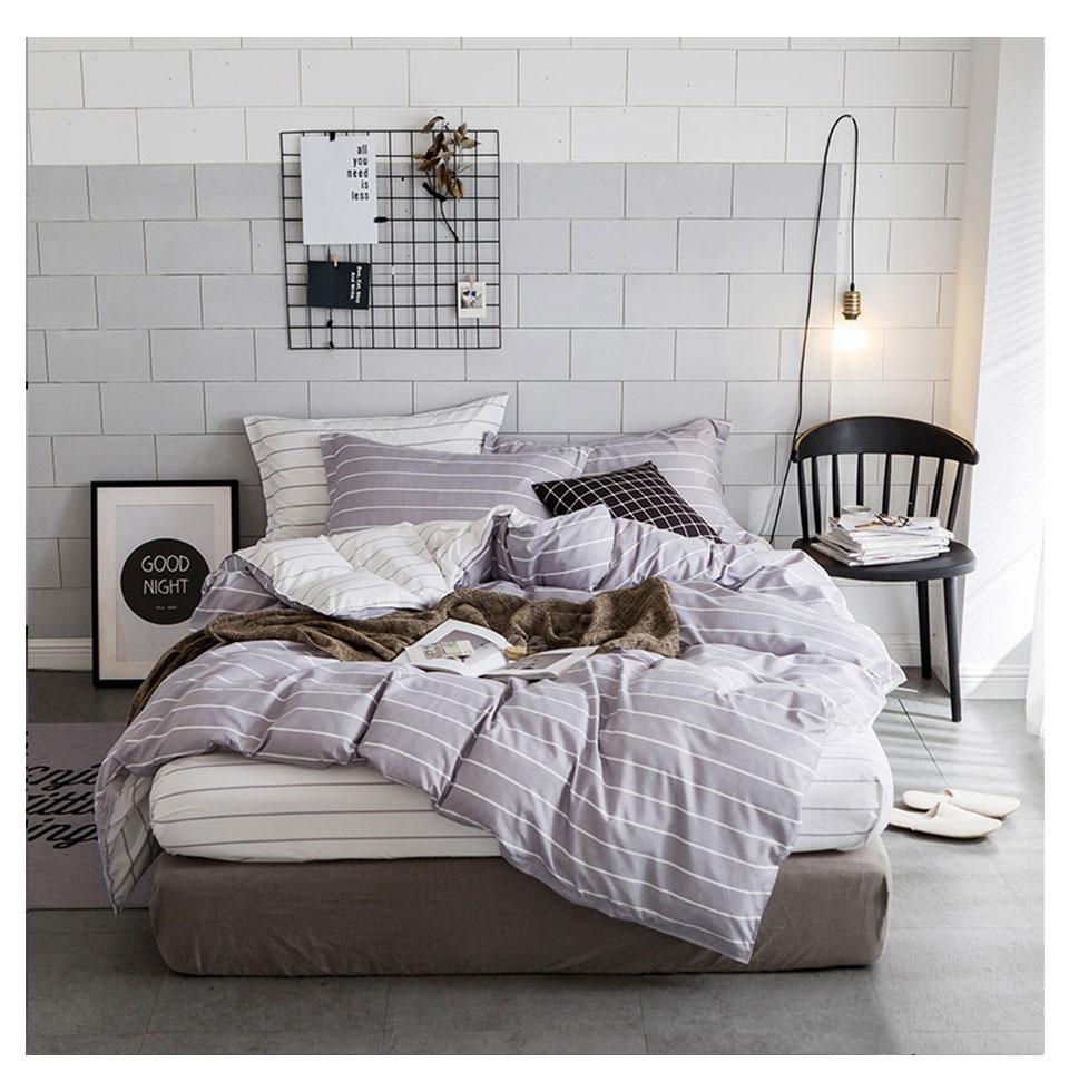 №Slowdream rayas simples Ropa de cama conjunto Gery blanco y Fundas ...