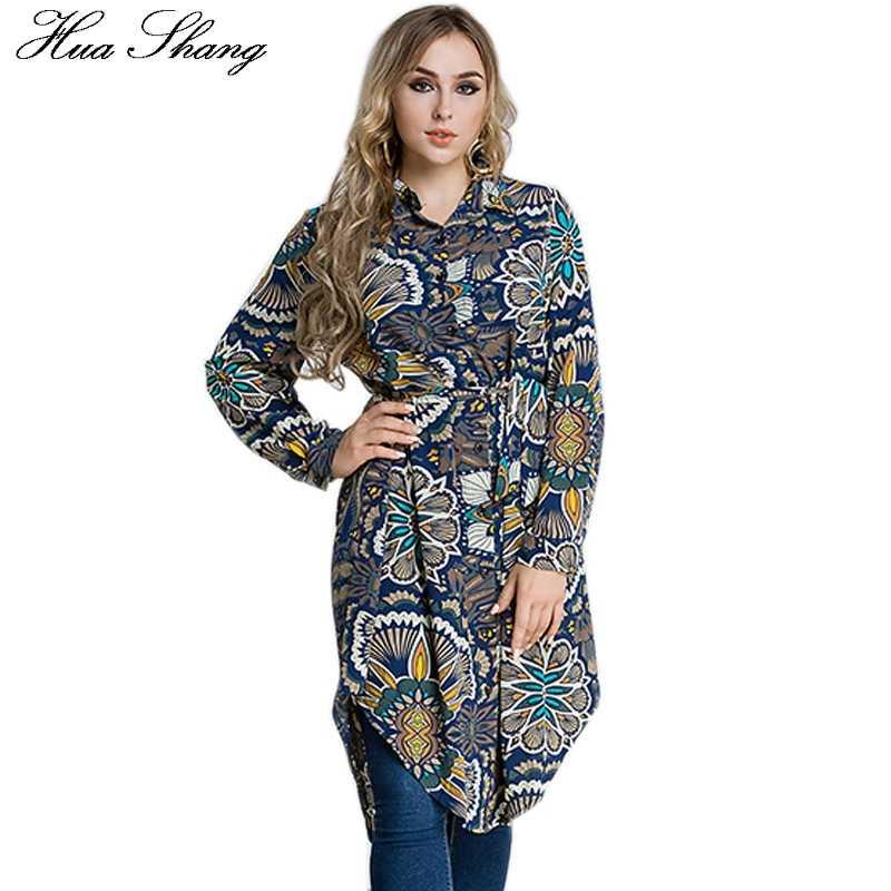 18291ffd2721b11 Женская осенне-зимняя рубашка с длинным рукавом ретро цветочный принт  Винтаж нерегулярная Длинная блузка плюс