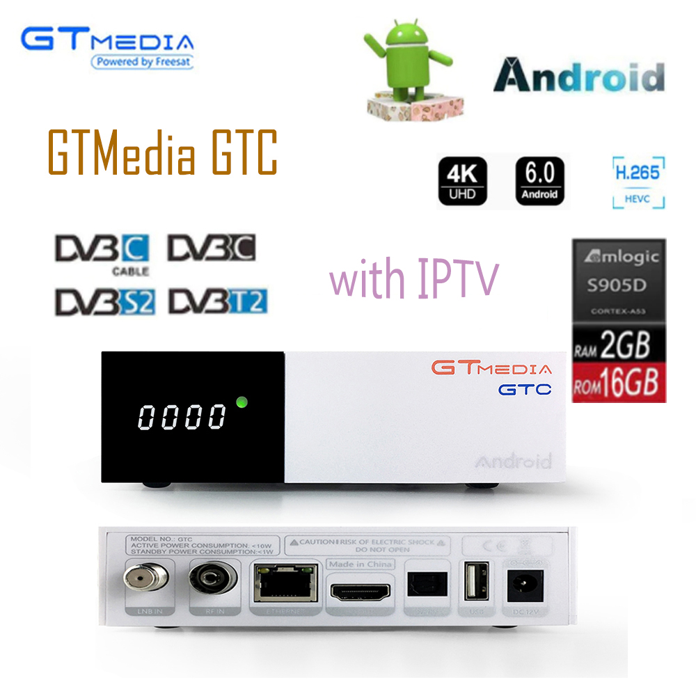 Freesat GTC decoder DVB-S2 DVB-C DVB-T2 Amlogic S905D android 6.0 TV BOX 2GB 16GB + IPTV server Satellite TV Receiver set tv box tbs2951 professional iptv streaming server with 4 x dvb t2 t c quad tv tuner pcie card tbs6205