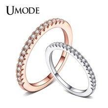 UMODE вечность помолвка обещание кольца обручальные кольца для Для женщин Femme кубического циркония Роза цвета: золотистый, серебристый позолоченные украшения UR0458