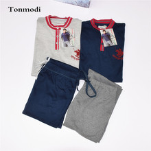 Pyjamas Men Spring and autumn Long Sleeve Knitted Cotton Sleepwear Pajamas pullo