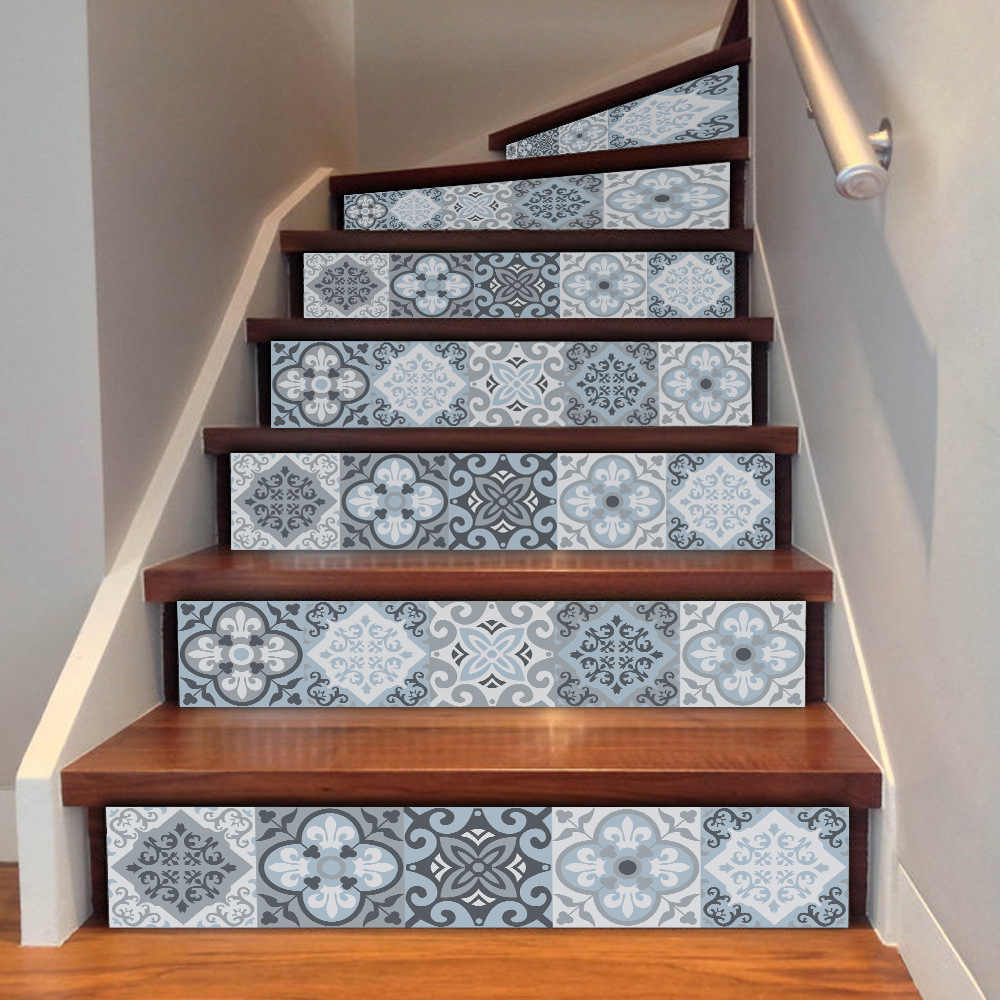 Grey White Arab Style Wall Steps Sticks Mosaic Wallpaper For Stairs Living Room Home Decor Room DIY Handmade Decorations Hot