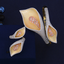 SisCathy 2PCS Bracelets/Ring Jewelry Sets For Women Luxury CZ Geometric Flower Shape Bridal African Wedding