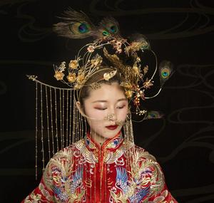 Image 4 - HIMSTORY Gorgeous Handmade Phoenix Coronet Stage Chinese Vintage Style Hair Accessories Peacock Feather Show Angel Headdress