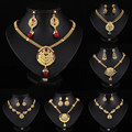 Unique Design Necklace Set Gold Plated Trendy Statment Pendant Necklace Earrings Women India Jewelry Sets