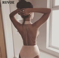 5 Colors Black Beige Red Green Yellow Sexy Halter Backless Crystal Chain Summer Bandage Swimwear Bodycon