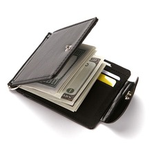 Creative Flip Cover Long Section Card Holder For Men Wallet Multi-Card-Bit Cardholder Dollar Clip PU Leather Clutch