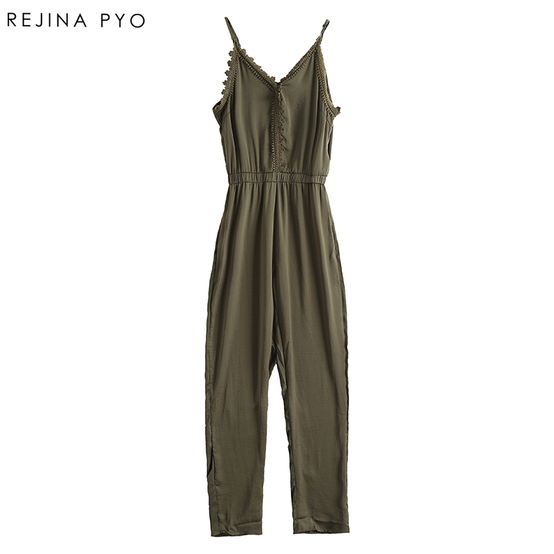 RejinaPyo Women Elegant Solid Jumpsuit Female Lace Crochet Patchwork Rompers Ladies Casual Jumpsuits Sexy Double V-Neck