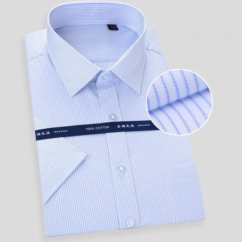 New Luxury Quality Pure Cotton Solid Striped Dobby Turn Down Collar Short Sleeve Non-iron Summer Comfortable Men Formal Shirts