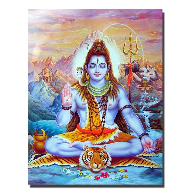 Calendar Art Of Hindu Gods : Hindu gods shiva painting print on canvas figure