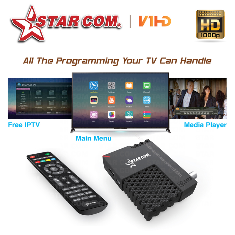 цена на Starcom V1 Satellite TV Receiver With Free Arabic IPTV Full HD Digital TV BOX With YOUTUBE DVBS2