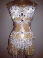Bling Rhinestone Bikini Outfit Crystals Tassel Bra Short Sexy Party Sequins Bodysuit Bra Costumes Stage Show Nightclub Dress