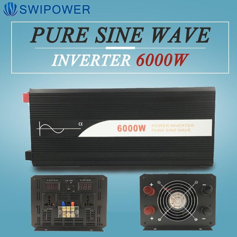6000 W onda sinusoidal pura Solar Power inverter 24 V DC 12 V 48 V a AC 110 V 220 V pantalla digital