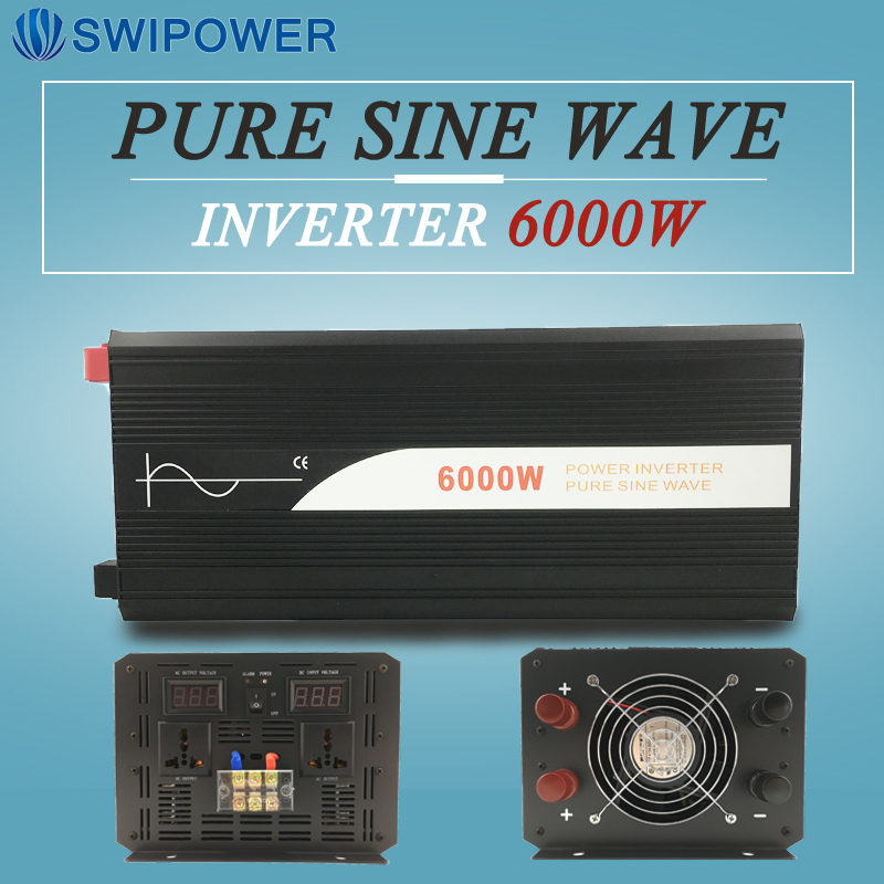 6000W pure sine wave solar power inverter DC 12V 24V 48V to AC 110V 220V digital display