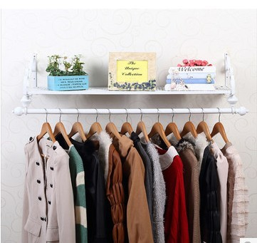 120*28cm Iron Clothing Display Racks Wall Hanger Holder Bedroom Clothes  Storage Shelves Hangers Rack