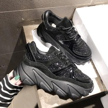 Platform Sneakers Women Shoes Chunky Casual Ladies Glitter Sneaker Zapatillas Mujer Zapatos 2019 Woman Trainers Black Fashion De