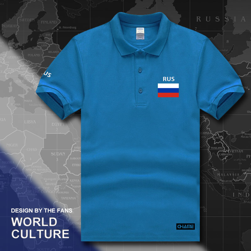 Russian Federation Russia   polo   shirts men short sleeve white brands printed for country 2017 cotton nation RUS country flag RU
