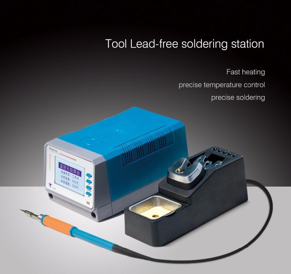 T12-11 Digital Lead Free Soldering Station Iron Temperature Controller 75W Big Power with EU Plug 1 set eu plug digital soldering iron station aluminum case temperature controller with t12 handle