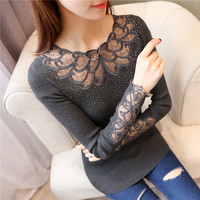 Fashion Hollow Out Women Sweaters Knitted Long Sleeve Spring Autumn Lace Patchwork Pullovers Sexy Blusas Mujer Body Top