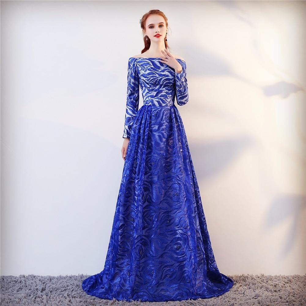Echte foto lange mouwen formele avondjurk blauwe elegante lange prom - Jurken voor bijzondere gelegenheden - Foto 2