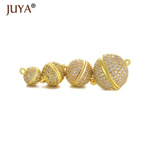 Image 3 - JUYA 10ps Wholesale Luxury AAA Zircon CZ Pave Ball Magnetic Clasps Hooks For Necklace Bracelet End Beads Chain Clasp Findings