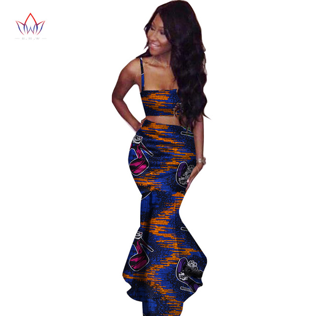 2019 African Print Two Piece Set Dashiki African Clothes for Women Bazin  Square Collar Sleeveless Crop 886496b3b904
