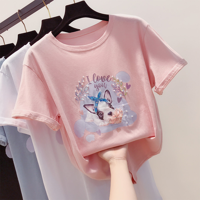 Sweet Care Machine Cute Cartoon Puppy Beaded T-Shirt Female Short Sleeve Foreign New O Neck Top Wild Summer Students Tshirts
