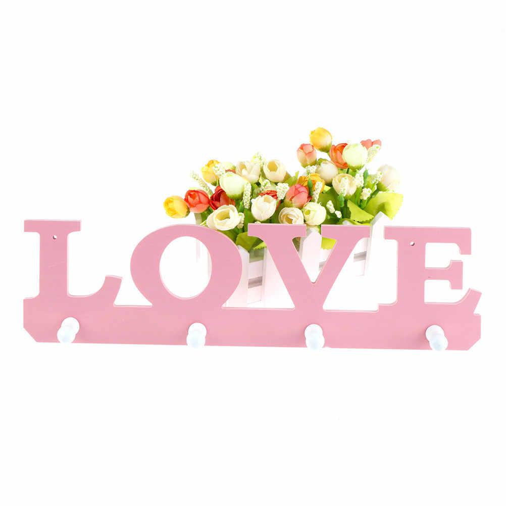 """Деревянная вешалка в форме слова """"любовь"""" 4 крючка двери вешалки Крючки для ключа одежды сумка держатель порта chave parede на стене ванной комнаты"""