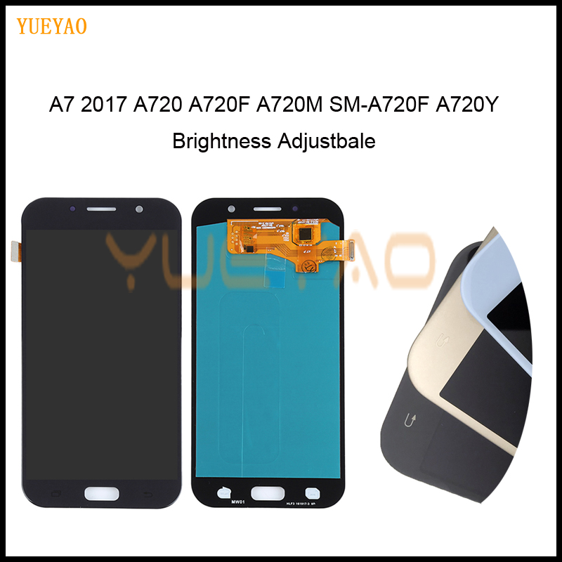 Brightness Adjust <font><b>LCD</b></font> For <font><b>Samsung</b></font> Galaxy A7 2017 <font><b>A720</b></font> A720F A720M SM-A720F Display Touch Screen Digitizer Assembly Replacement image