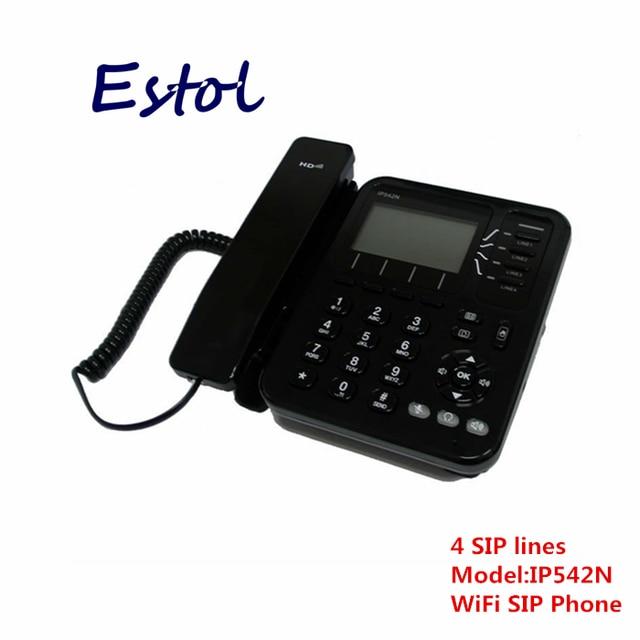 Flyingvoice Wireless voip phone 4 sip line ip phone desktop wifi phone  asterisk elastix cordless sip phone IP542N-in VoIP Phones from Computer &