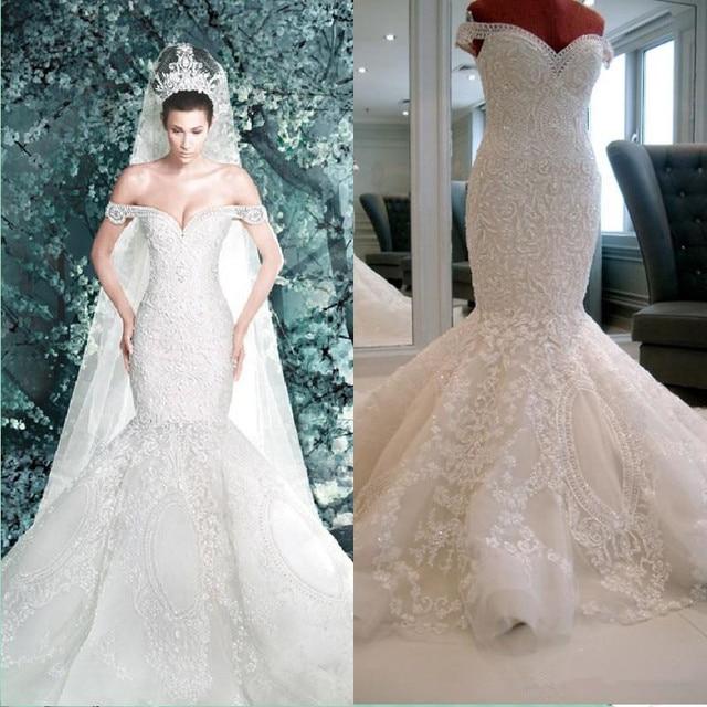 c1418bc078 2016 New Michael Cinco Backless Garden Mermaid Off-Shoulder Elegant Ivory  Appliques Beaded Crystal Bridal Gowns Wedding Dresses
