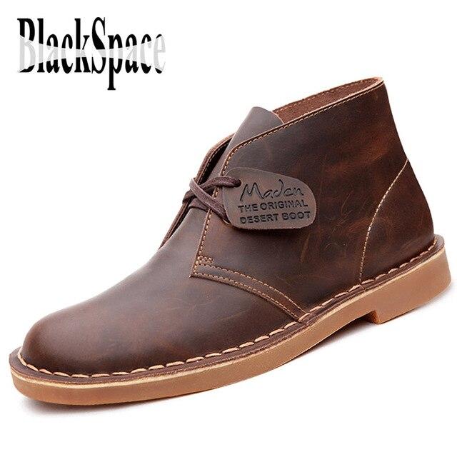 4e0ebd11c2f Espacio negro 2016 hombres de otoño desierto botas con cordones botas  cortas ocasionales cuero genuino botines