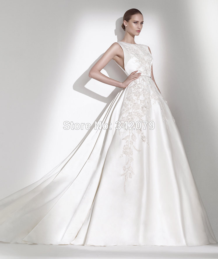 ph15602 elie saab wedding dress embroidered appliques Narrow leather ...