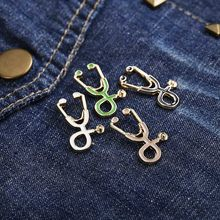 High Quality 2 Style Brooches Doctor Nurse Stethoscope Brooch Medical Jewelry Enamel Pin Denim Jackets Collar Badge Pins Button(China)
