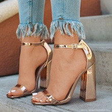 Stylish Rose Gold Chunkly Heels Women Sandals Cut-out Ankle Strap Peep Toe Dress Shoes Square Heels Women Pumps Plus Size 10 недорого