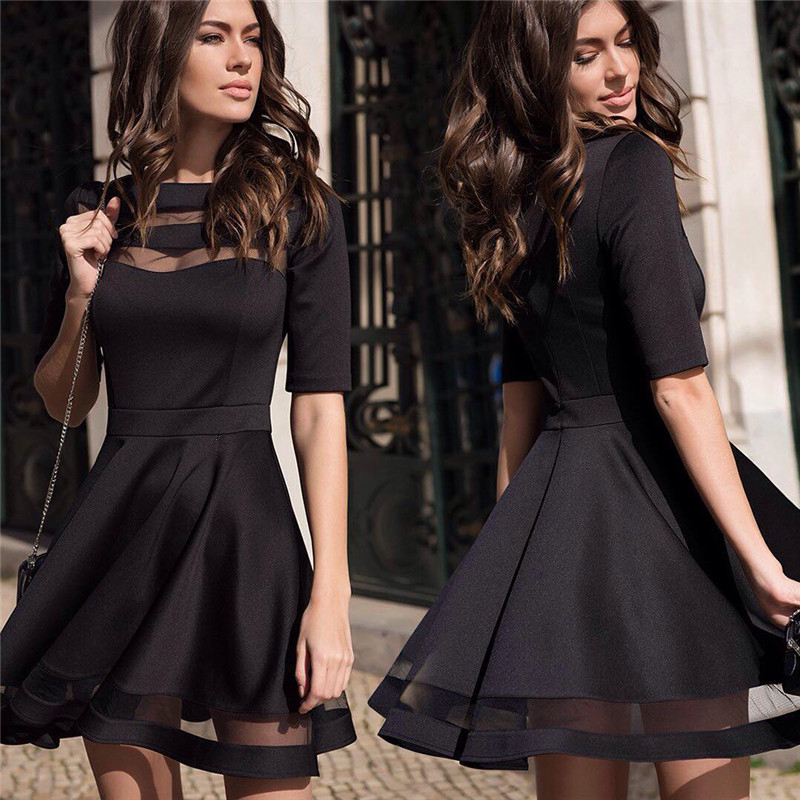 Womens Summer Dresses 2017 European Style Black Elegant Party Dress Ladies Casual Vintage Mesh Sexy Dress Plus Size