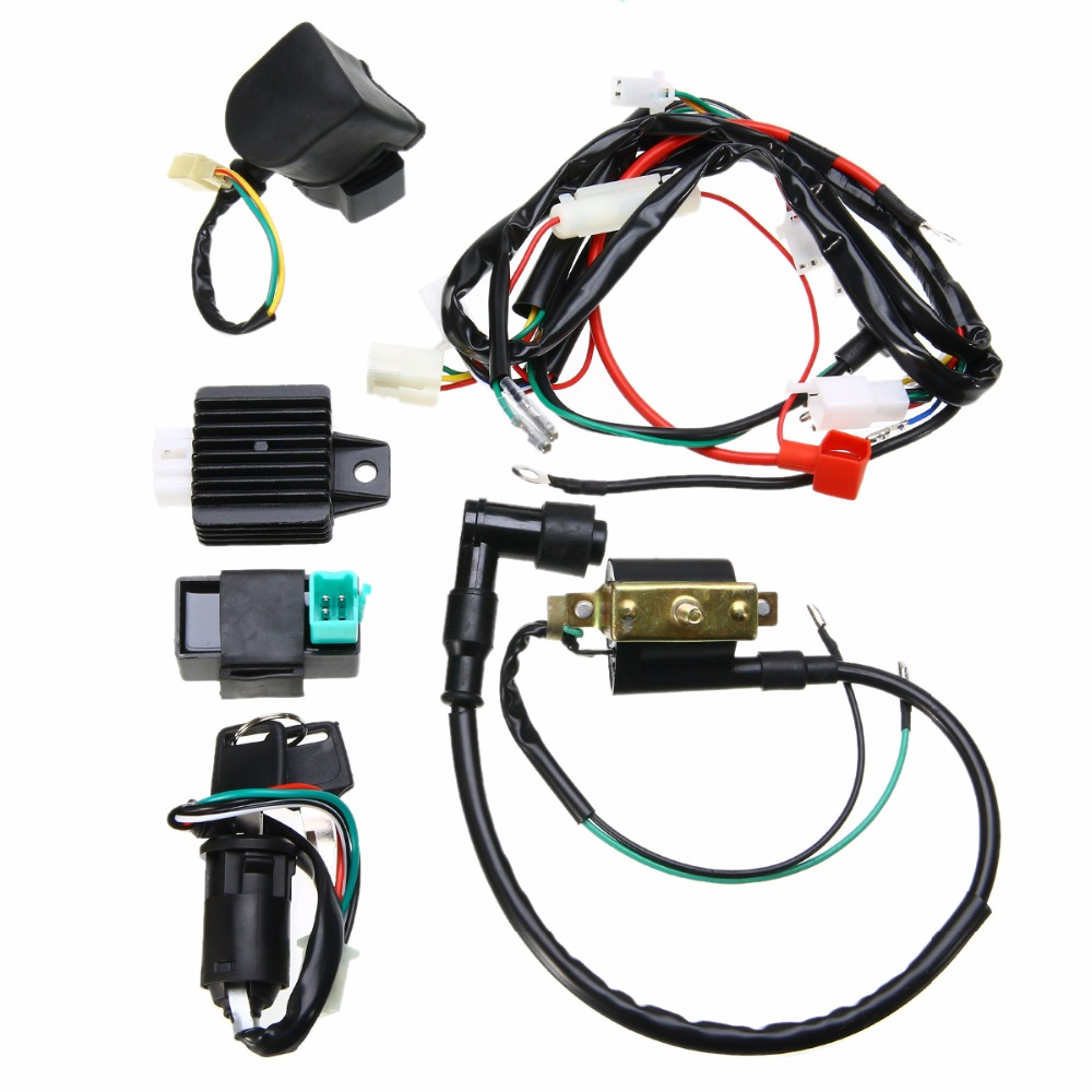 hight resolution of new 50cc 125cc cdi wiring harness loom solenoid coil rectifier pit quad dirt bike for