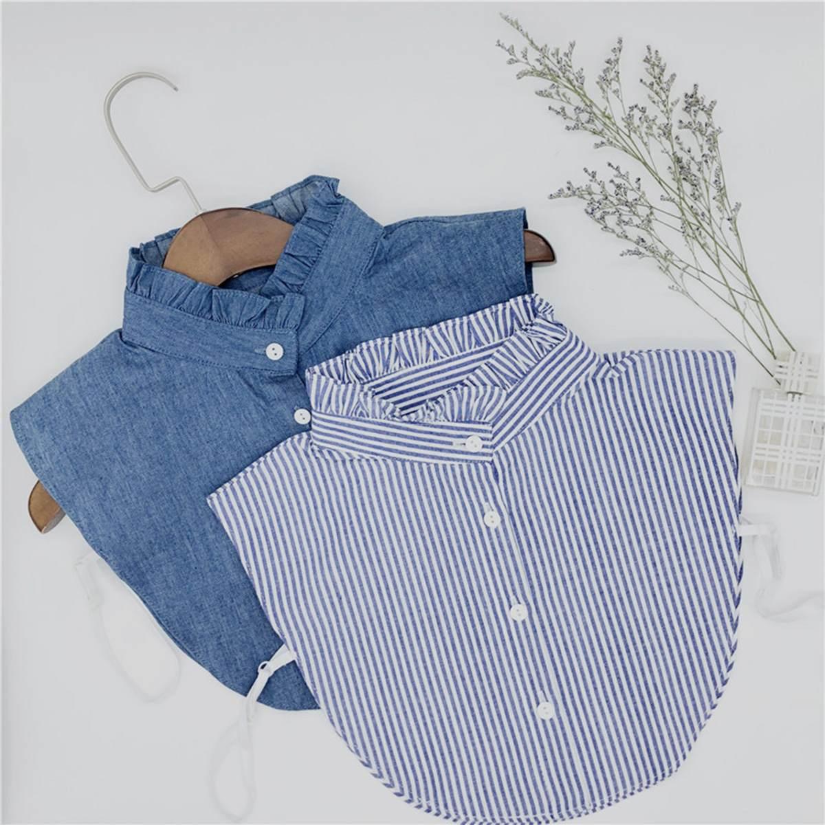 Shirt Fake Collar Women Detachable Blue Fake Lapel Blouse Top Striped Blue Jeans Half Shirts False Collar Clothes Accessories