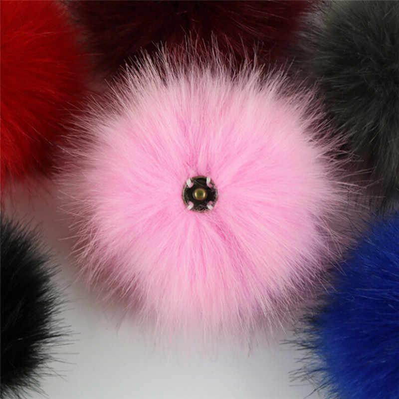 10 cm Bola De Pêlo Chaveiro Pompons De Peles Chapéu Do Inverno Chapéus De Pele Pom Pom Para Sapatos Acessórios do Saco Com Botões