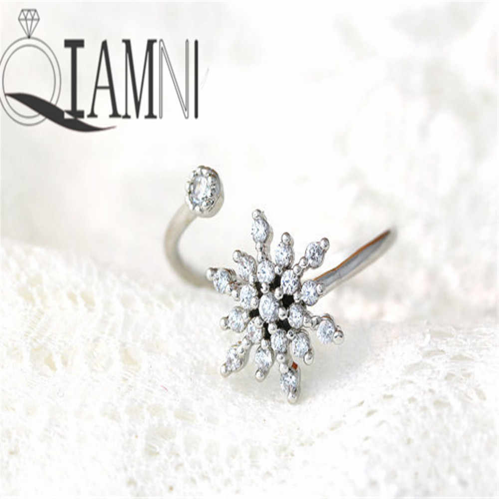 QIAMNI Hot Fashion Vintage Snowflake Rings for Women and Ladies Birthday Jewelry