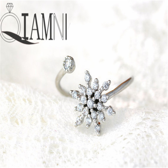 QIAMNI Hot Fashion Vintage Snowflake Rings for Women and Ladies Birthday Jewelry