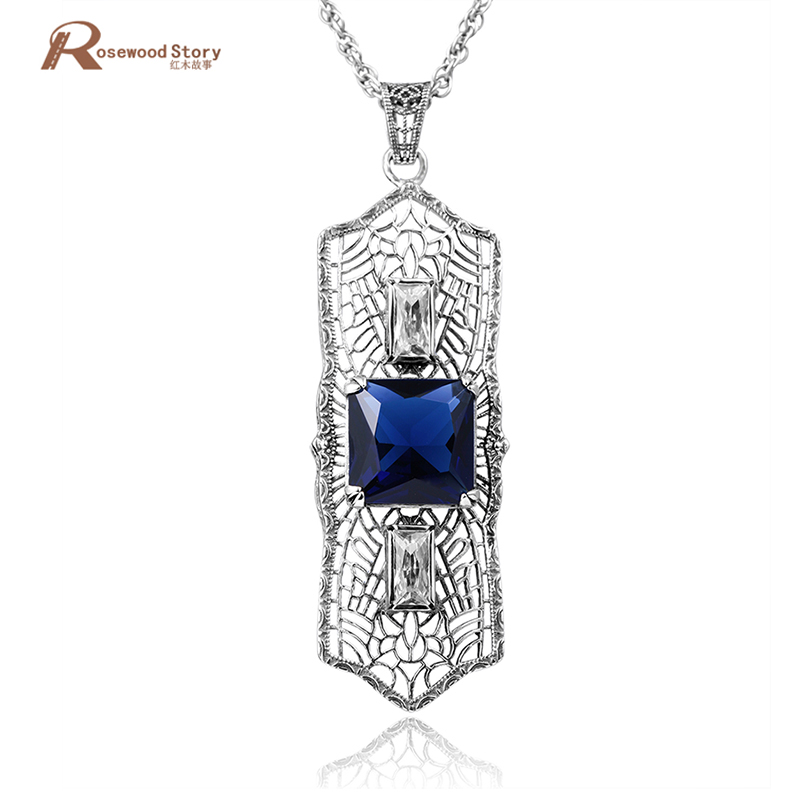 South Korean style romantic design wholesale promotional gift blue rhinestone pendant 925 sterling silver jewelry free shipping