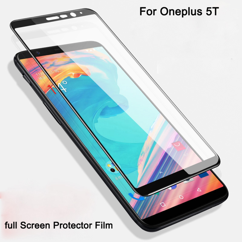 2PCS high quality Full Cover Tempered Glass For oneplus5t 9H full Screen Protector Film  ...