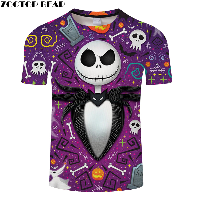 ZOOTOP BEAR Halloween Jack 3d tshirt Men t shirt Male Top Tee Skull t-shirt Short Sleeve Fashion Camiseta Streetwear Drop Ship